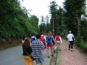 カットカット村へ行くツアー客